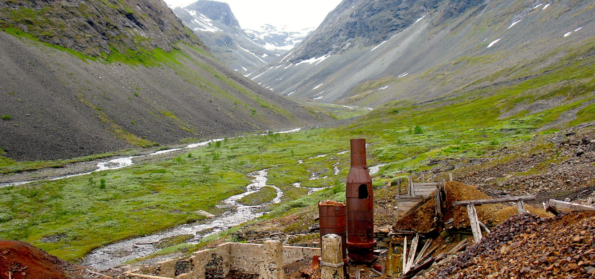 Ruins of the mining in a valley