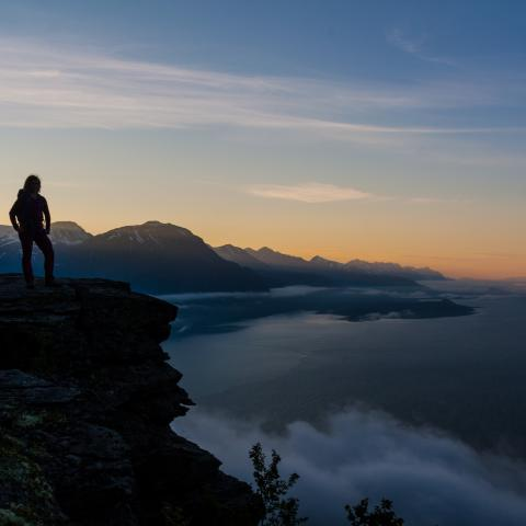 Person standing in the mountains enjoying the midnight light over the Lyngen Alps and the Lyngen fjord