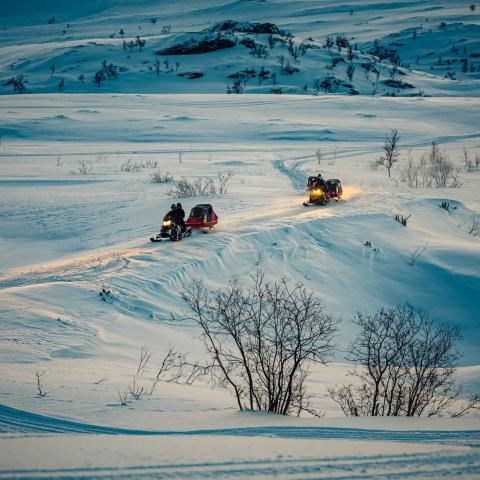 Snowmobile safari, Reisafjord, Northern Norway