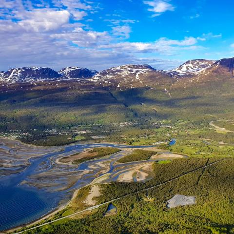 Birdseye view of Skibotn and the Skibotn delta