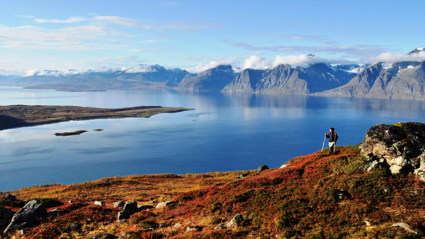 Hiking on Uløya on a autumn day, with the Lyngenfjord and Lyngen Alps in the background